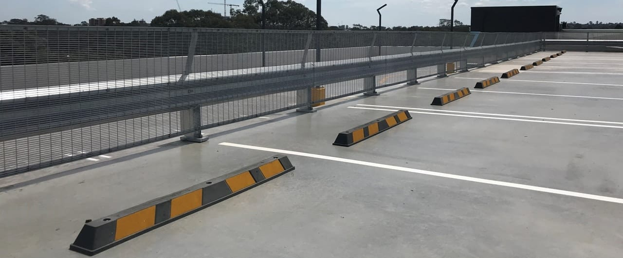 rhino stop and wheel stops safety barrier project at parra leagues club car park