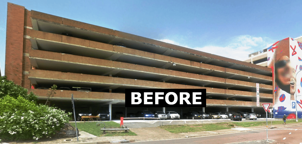 civic car park before upgrading to safe direction's rhino stop barrier systems
