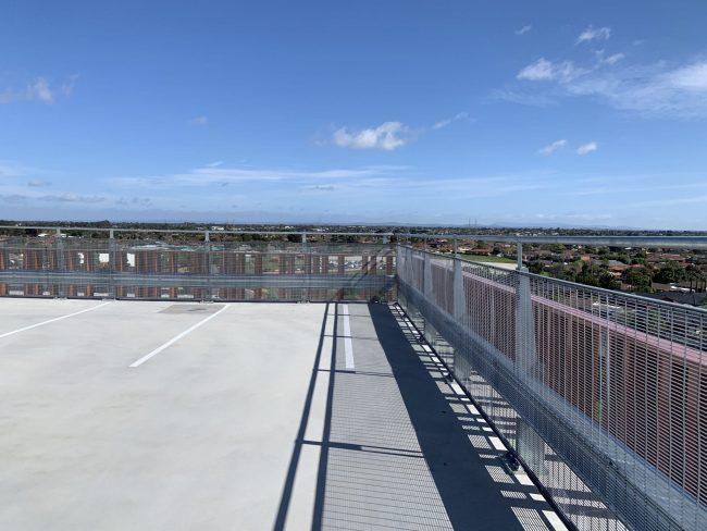 sunshine hospital carpark featuring rhinostop barrier perimeter edge protection