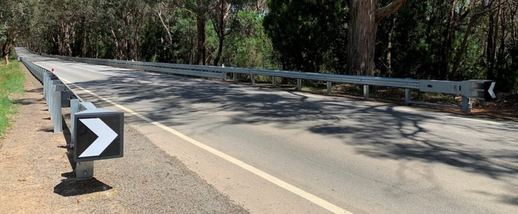 Ramshield guardrail with bikershield safety barrier at romsey victoria