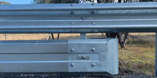 Biker-Shield guardrail with bullnose assembly
